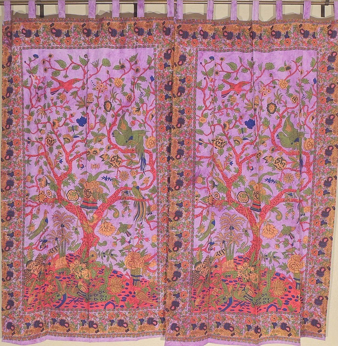 Indian Style Curtains - 2 Purple Pretty Tree of Life Cotton Window Panels  82