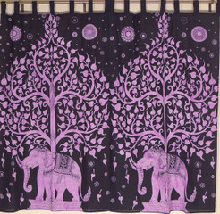 Bed Room Curtains - 2 Purple Tree of Life Elephant Window Treatments 78""