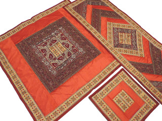 Classic Table Linens Set from India - Orange Tablecloth Runner 4 Placemats