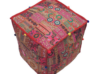"""Embroidered Pouf Cover - Decorative Bohemian Beautiful Colorful Large Ottoman 18"""""""