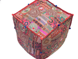 Bohemian Cube Pouf Cover - Beautiful Finely Embroidered Stylish Ethnic Ottoman 18""