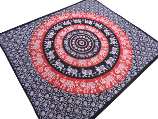 """Mandala Elephant Cotton Wall Hanging - Red Black Tapestry Bed Sheet 90"""" x 80"""""""