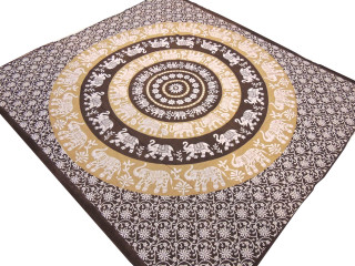 "Buff Brown Cotton Elephant Tapestry - Mandala Ethnic Indian Bed Sheet 90"" x 80"