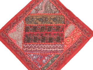 """Red Traditional Indian Throw Pillow Cover - Fine Embroidery Wood Beadwork Cushion 16"""""""