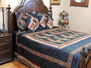 Black Paisley Parsi Embroidered Duvet Cover Set - Decorative Indian Bedspread Pillow Shams ~ King