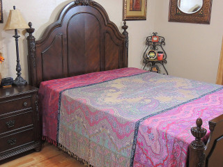 Bedroom Decor Kashmir Queen Bedspread - Chashmah Floral Woven Bedding Collection