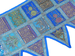 Blue Cotton Sequin Patchwork Valance - Indian Inspired Decorative Style Window Topper 60""