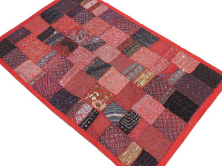 "Red Wall Hanging Decorative Accent - Patchwork Unique Collage Large Tapestry 60"" x 40"""
