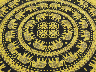 Block Print Elephant Tapestry Cotton India Bed Sheet Jaipur Linens Couch Throw