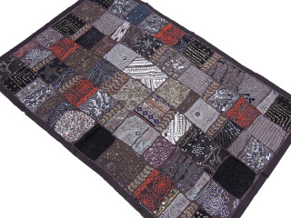"""Brown Textile Indian Wall Hanging - Inspired Moti Patchwork Large Tapestry 60"""" x 40"""""""
