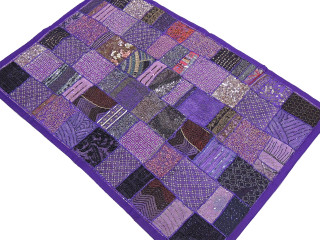 "Large Purple Beaded Wall Hanging - Sari Patchwork Indian Inspired Tapestry 60"" x 40"""