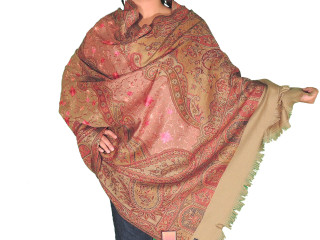 """Embroidered Scarves for Women - Beige Paisley Woven Kashmir Evening Shawl Wrap 80"""""""