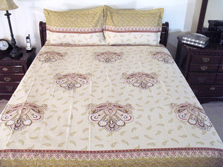 3P Paisley India Bedding Bed Sheet Cotton Pillow Shams
