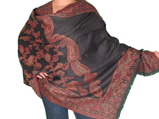 Black Wool Evening Scarf Wrap - Cozy Floral Weave Jacquard Dressy Shawl 80""