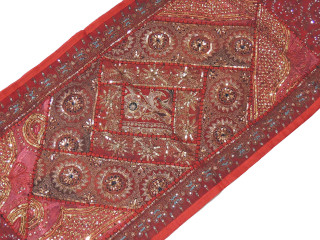 """Brown Beaded Decorative Wall Hanging - Sequin Patchwork Textile Table Runner 80"""""""