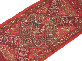 """Brown Wall Decoration Tapestry Textile - Sequin Patchwork Indian Runner 80"""""""