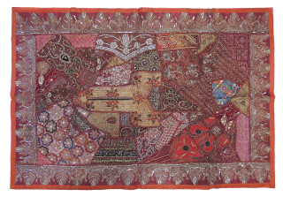 Brown Sari Fabric Wall Hanging Tapestry - Large Indian Inspired Textile Art 60""