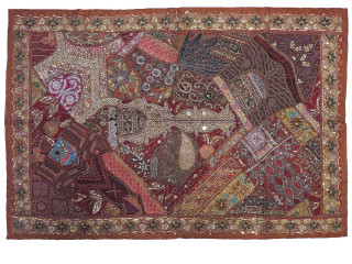 """Brown Ornate Bedroom Tapestry Decoration -Beaded Beautiful Embellished Indian Wall Hanging Art 60"""""""