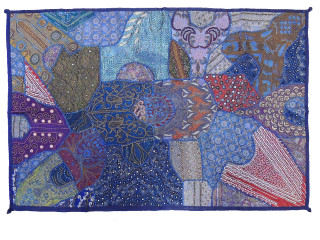 """Blue Decorative Unique Wall Hanging - Extensively Beaded Large Textile Tapestry 60"""""""
