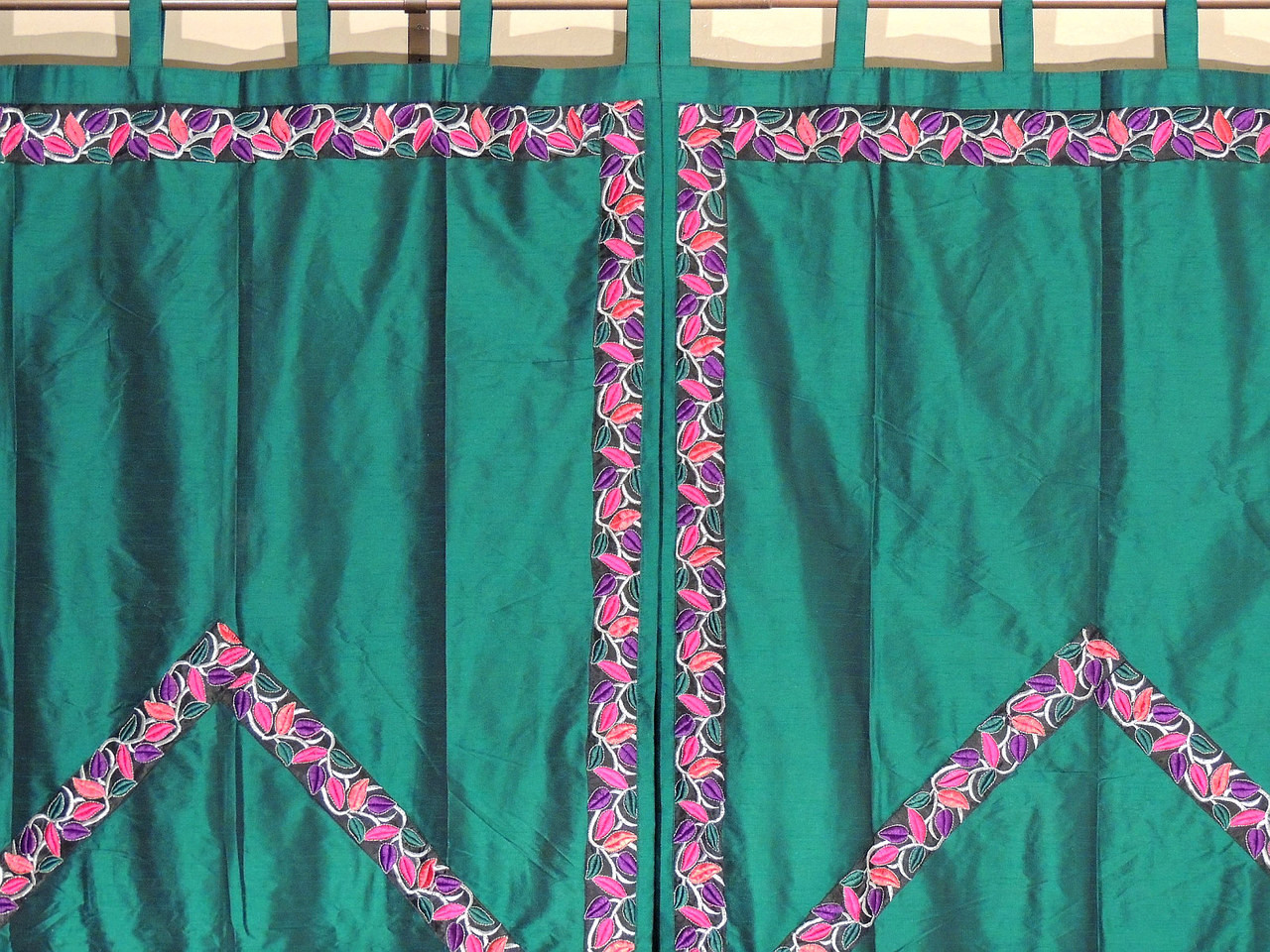 Green indian curtains - Green Trellis Fine Embroidered Curtains 2 Elegant Indian Window Treatments Panels 82 Image 2