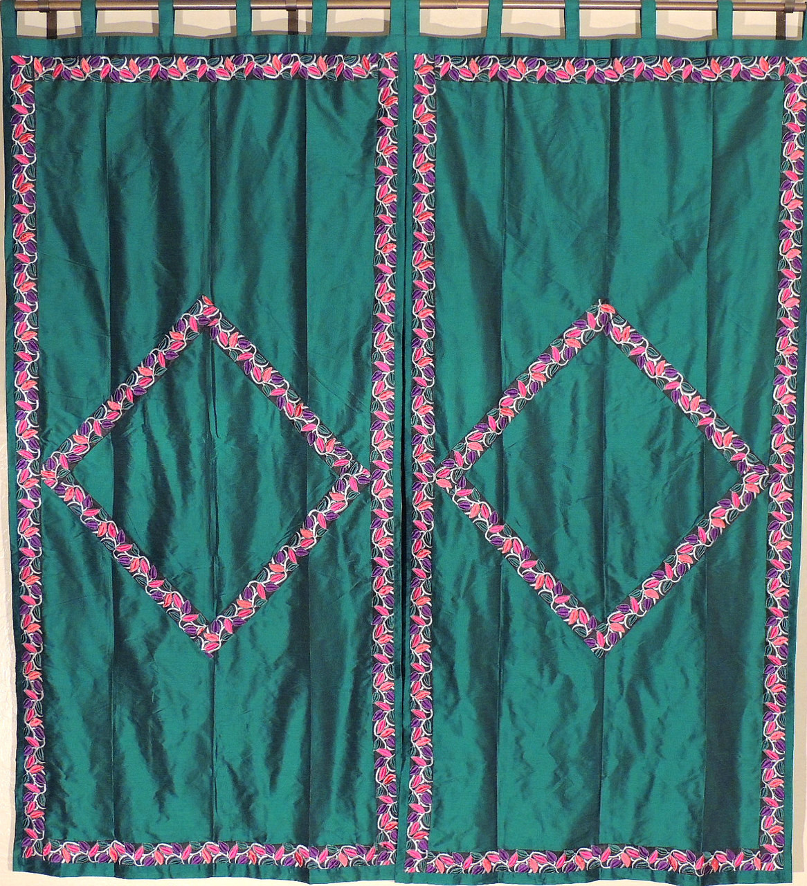 Green indian curtains - Green Trellis Fine Embroidered Curtains 2 Elegant Indian Window Treatments Panels 82