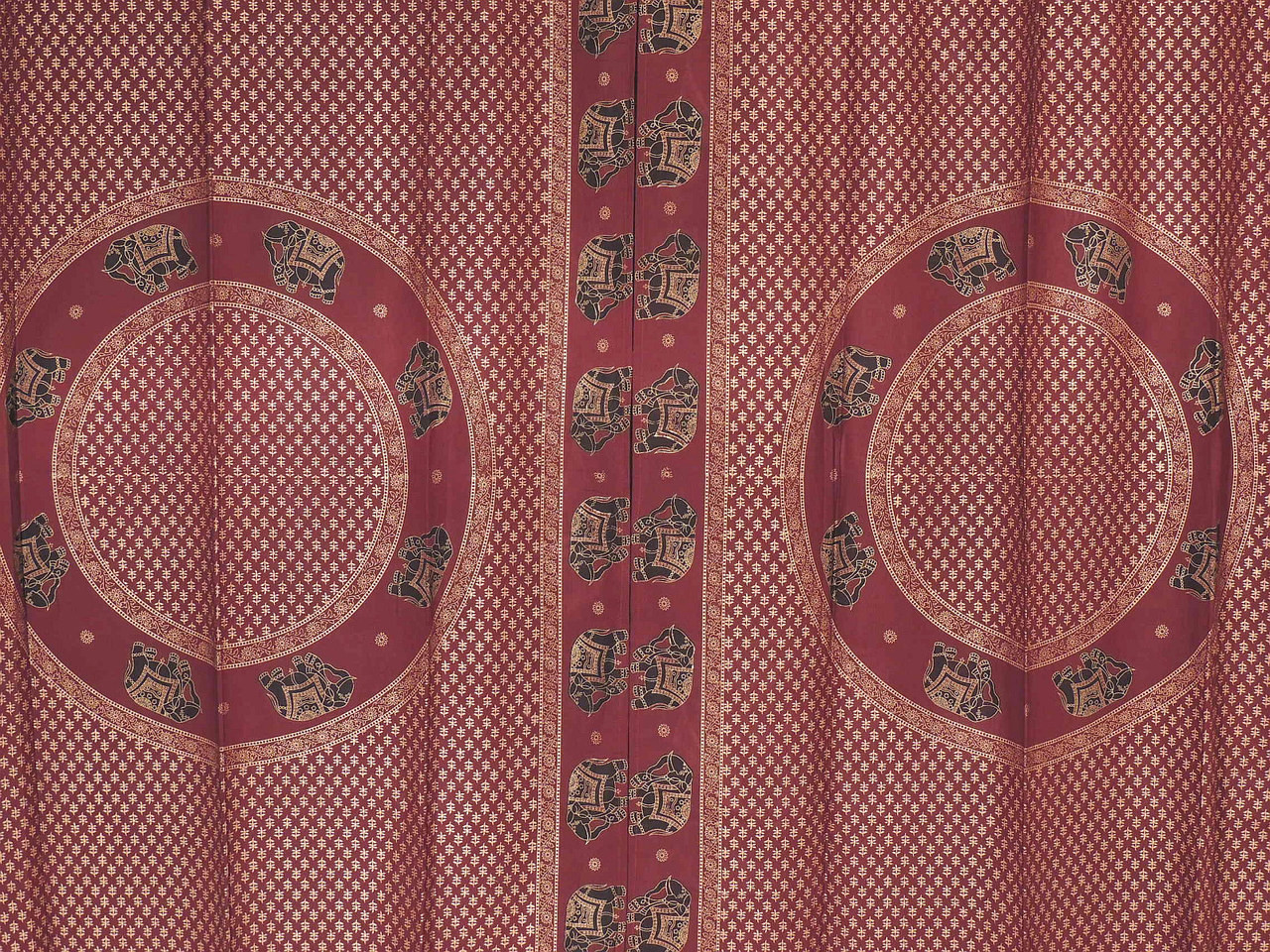 Maroon Curtains For Living Room Maroon Elegant Gold Print Curtains 2 Cotton Elephant Classy