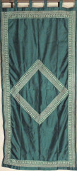 Green Gold Zari Window Panel - Pretty Fine Embroidery Dupioni Fabric Curtain 82""