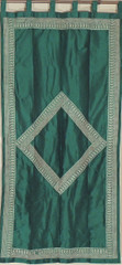 Green Zari Embroidered Window Panel - Decorative Dupioni Fabric Curtain 82""