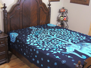 Blue Elephant Tapestry Bed Sheet - Tree of Life Cotton Ethnic Linens ~ Full
