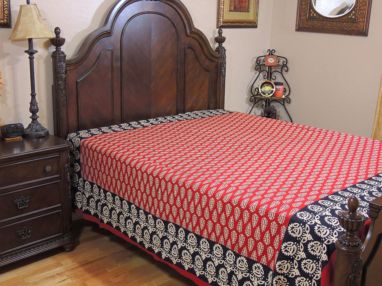 Black and red bed sheets - Paisley Cotton Flat Bed Sheet Red Black Block Print Handicraft Bedding Linens Queen