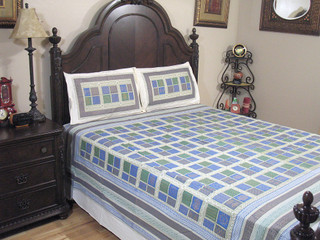 Blue Patola Paisley Bedding 3P Cotton Sheet Gold Print Luxury India Bed Linens