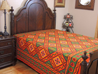 Bohemian Block Print Cotton Bedding - Charming Bedroom Decor Bed Sheet ~ Queen