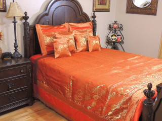 Orange Indian Inspired Peacock Bedding - Gold Brocade Quilted Duvet Pillows Set ~ King