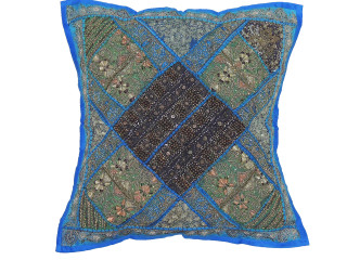Blue Green Decorative Square Floor Pillow Cover - Wood Beaded Handicraft Euro Sham ~ 26 Inch