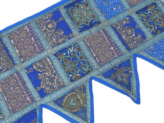 Blue Indian Style Window Valance - Beaded Decorative Sari Topper 80""