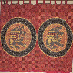 Decorative Maroon Elephant Window Curtains - 2 Ethnic Print Bohemian Indian Cotton Panels 80""