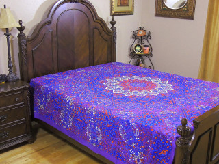 Purple Floral Tapestry Bed Sheet - Cotton Decorative Indian Bedding Linens ~ Full