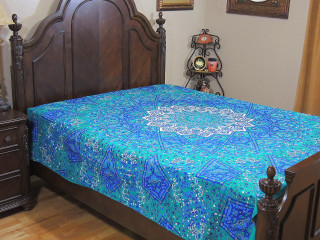 Blue Teal Floral Elephant Tapestry - Cotton Decorative Indian Bed Sheet Bedding Linens ~ Full