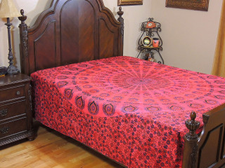 Red Peacock Tail Fan Tapestry - Cotton Fabric RedBed Sheet Bedding Linens ~ Full