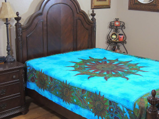 Blue Zodiac Sun Tapestry Bed Sheet - Cotton Ethnic Bedding Linens ~ Full