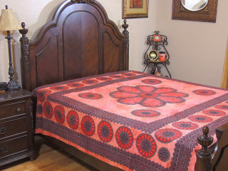 Russet Brown Dot Print Floral Bedding Tapestry - Cotton Fabric Bed Sheet Linens ~ Full