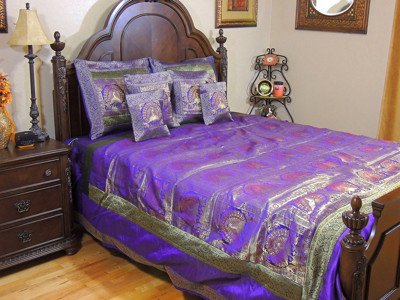 Purple indian inspired peacock bedding gold brocade quilted duvet pillows set king - Peacock bedspreads ...