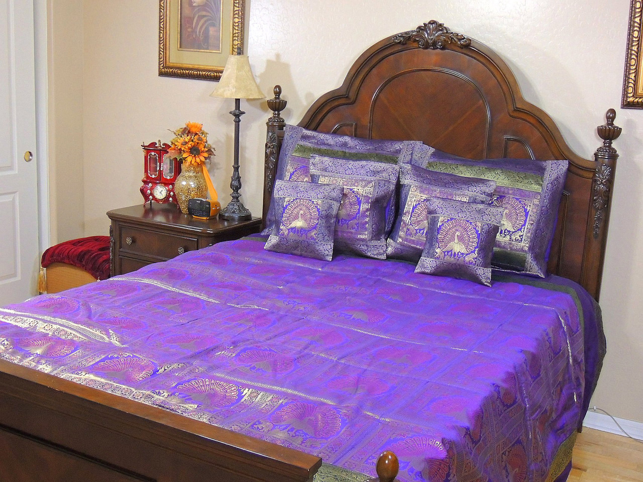Peacock bedroom set - Peacock Bedroom Set Purple Indian Inspired Peacock Bedding Gold Brocade Quilted