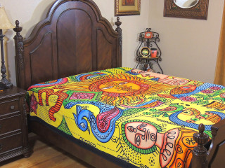 Bohemian Tribal Sun Tapestry Sheet - Cotton Ethnic Bed Linens ~ Full
