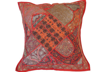 Red Square Large Floor Pillow Cover - Handmade Wood Beaded Euro Sham ~ 26 Inch