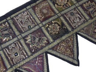 Black Sequin Patchwork Long Valance - Decorative Indian Window Topper 80""