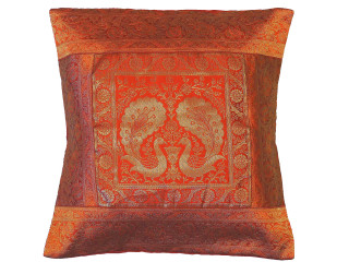 Russet Peacock Pair Throw Pillow Cover - Gold Zari Sofa Toss Cushion Case 16""