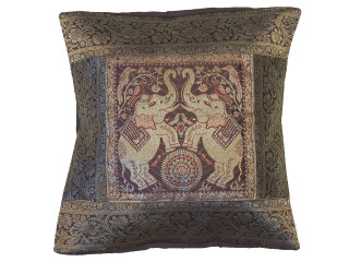 """Brown Elephant Fancy Throw Pillow Cover - Pretty Brocade Couch Cushion 16"""""""