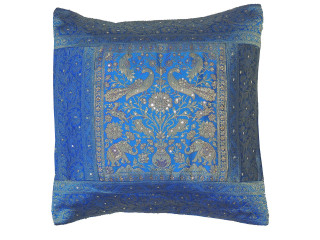 Blue Brocade Elephant Peacock Pillow Cover - Stylish Sequin Couch Cushion 16""