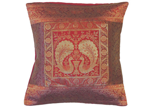 Maroon Peacock Pair Throw Pillow Cover - Sari Brocade Accent Cushion 16""